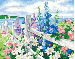 """Wholesale Painting Oil Sea - DIY Oil Painting Paint by Numbers flower sea Drawing With Brushes Paint for Adults Kids Beginner Level 16"""" x 20"""""""