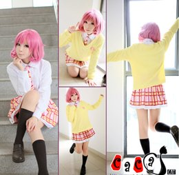 Wholesale Wig S - Wholesale-Kitted Sweater Coat + Skirt + Necktie+wigs Noragami Ebisu Kofuku Cosplay Costume Dress Cosplay Costume Halloween Costumes