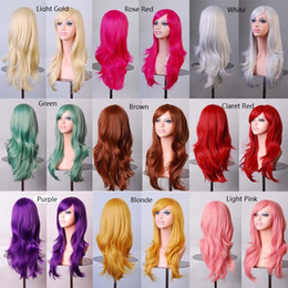 Wholesale Long Anime Wigs - FASHION WOMENS LONG HAIR WIG CURLY WAVY SYNTHETIC ANIME COSPLAY PARTY FULL WIGS STYLE APJ2 HOT SALE