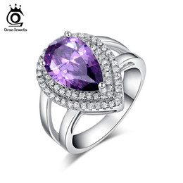 Wholesale Sterling Stone Rings - Big Luxury Water Drop 6 ct Amethyst Zircon Ring 3 Prong Setting with Mirco CZ Stone Around 925 Sterling Silver Ring OR36