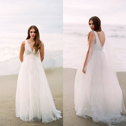 Wholesale Grecian Wedding Dressed - 2016 Grecian Beach Wedding Dresses Deep V Neck Sleeveless Open Back Boho Bridal Gowns with Beaded Sash Removable Flowing Ribbon Sweep Train