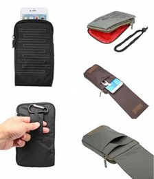 Correa de bolsa móvil online-6.4 pulgadas Universal Phone Bag bolsa para Iphone 7 Plus 6 6S Mobile MP4 Auriculares Cable salida de la puerta Travel Belt Hasp cremallera bolsa Lanyard Cover 1pcs