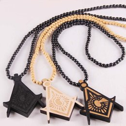 "Wholesale Masonic Necklaces - Good Wood Masonic Pendant 36"" Ball Chain Necklace Good quality hiphop bead necklace 3 colors"