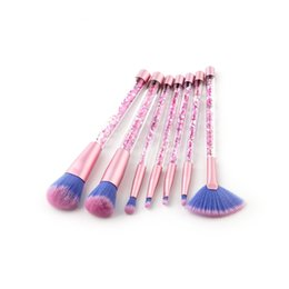 Wholesale Wholesale Crystal Cosmetic Brushes - 7pcs Glitter Diamond Makeup Brush Set Quicksand Crystal Brush Cosmetics Brushes Powder Eyeshadow Foundation Make up brush Tool