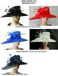 Wholesale Royal Hats For Women - New LARGE BRIM Sinamay Hats Church for races wedding,black,navy,ivory,royal blue are out of stock,only red available,10pcs lot