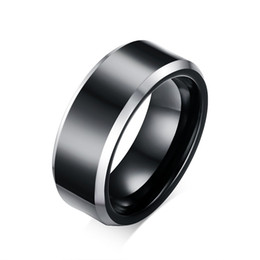 Wholesale Mens Comfort Fit Ring - 8mm Mens Two Tone Beveled Tungsten Carbide Wedding Rings Comfort Fit