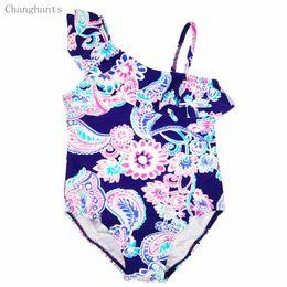 Wholesale Children S Swim Wear Girl - Wholesale- Baby Girls Swimwear Dark Blue and Classical Flower Pattern 2-8 Y Children One piece Swimsuit Kids Bathing Swimming wear sw0626