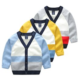 Wholesale Kids V Neck Sweater - Children Cardigan Boy Knit sweater Contrast color Block V-neck cardigan for Kid 2017 Autumn winter Boys clothing Wholesale