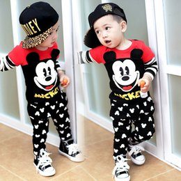 Wholesale Mouse Sets - 2016 hot sale Kids Clothing sets Mickey Mouse baby boy cartoon clothes children Korean style Spring autumn clothes suit