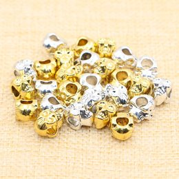 Wholesale Gold Big Hole Spacer Beads - 50pcs lot Antique Gold Silver Double-sided Skull Spacer Beads Big Hole Beads fit Diy Beaded Bracelets Jewelry Handmade Making