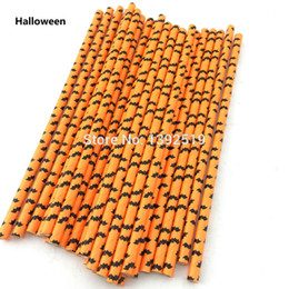 Wholesale Colored Paper Straws - 250pcs Orange&Black Colored Bat Paper Straws For Halloween Decoration Party Supplies Paper Drinking Straws Wholesale Price