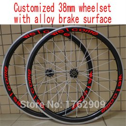 Wholesale Clincher Rims Alloy Braking Surface - New customized 700C 38mm clincher rim Road bicycle 3K UD 12K carbon fibre bike wheelsets with alloy brake surface Free shipping