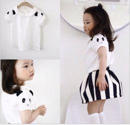 Wholesale Girl Puff Skirt Set - 2016 New Summer Children Pretty Panda Princess Sets Puff Sleeve T-shirt Tops+Striped Tutu Skirt 2pcs Set Girls Korean Style Casual Outfit