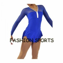 Wholesale Blue Ice Skating Dresses - Custom Figure Ice Skating Dresses New Brand Skating Dress For Competition HB2917