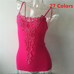 Wholesale Ladies Camisoles Colors - New Women Seamless Camisoles Long Tank Tops Mini Dress Underwear Active Casual Lady Cami Vest Embroidery Floral Tanks 27 Colors
