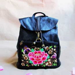 Wholesale Smallest China Cell Phone - China style bringht color factory custom embroidered leather backpack  Embroider the flower designe Genuine Leather Backpack