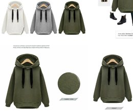 Wholesale Women Loose Grey Sweatshirts - sales cheap Arm Green New Winter Autumn Loose Hooded Jacket Plus Size Thick Velvet Long sleeve Sweatshirt Korean Style Hoodies OXL092901