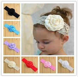 Wholesale Elastic Lace Headbands Rose - 14 Color Baby Lace rose flower Headbands NEW Girls Cute Hair Band Infant Lovely Headwrap Children Bowknot Elastic Accessories B001