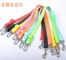 Wholesale Designer Dog Collars Leads - 10 colors Pet Dog Car Seat Belt Collar Puppy Dogs Lead Designer Collars Adjustable Portable Harness Rope D635
