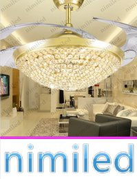 "Wholesale Luxury Light Switches - nimi926 36"" 42"" Invisible Luxury Crystal Ceiling Fan Light Lights LED Bedroom Chandelier Living Room Restaurant Pendant Lamp Gold Silver"
