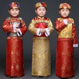 Wholesale Cheap Mens Robes - Cheap male kids ancient Tang Costumes Boy mens little emperor dragon robes suits Qing Dynasty Prince Man traditional clothing