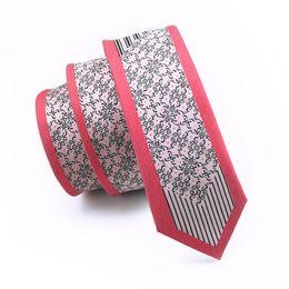 Wholesale Narrow Silk Ties - New Style Fashion Silk Red Verge Necktie Vintage Black Floral Ties Printed 6cm Narrow Ties for Men Groom Wedding Popular Ties E-109