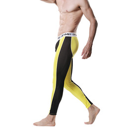 Wholesale Mesh Long Johns - Wholesale-Men Modal Long Johns Spice Mesh Warm Thermal Trousers Underwear Legging Pants