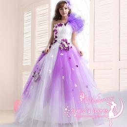 Wholesale Violet Lines - Fashion Quinceanera Dresses 2016 New One Shoulder Violet Lace Flower A-line Catwalk Dress Custom Plus Size Performance dress