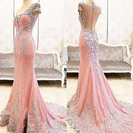 Wholesale Jewel Black Caps - 2018 Newest Sexy Real Image Mermaid Elegant Pink Lace Evening Dresses Sexy Crystal Crew Cheap Party Prom Dresses