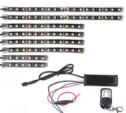 Wholesale rider pc - 3 Sizes Led Strip 18 Color RGB LED Knight Rider Effect Light Brake Turn Red Kit For Motorcycle Bike