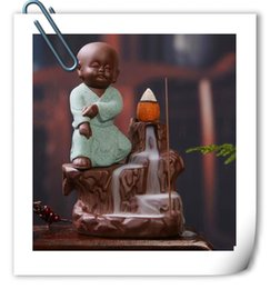 Wholesale Pottery Decorations - New Smoke backflow Kung Fu monk Yixing creative incense sand pottery Xunlu incense Road office Home Furnishing car decoration