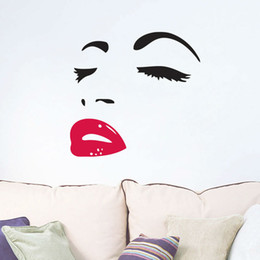 Wholesale Hepburn Wall Sticker - Free Shipping Hot Sale Elegant Hepburn Lip Removable PVC Wall Sticker Room Decal Art Home Decor papel de parede E5M1 order<$18no track