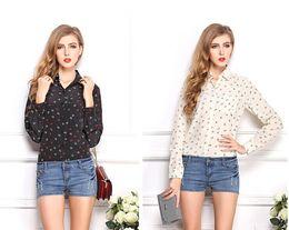 Wholesale Euro Style Blouse - New Summer women blouses Euro and US style floral fashion Black Polka Dot lips long sleeved chiffon ladies shirt Lapel slim cardigan Blouse