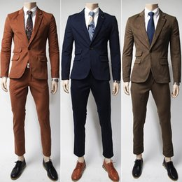 Wholesale Korean Wedding Men Coat - Wedding Blazers Men Korean Slim Suits Solid Color Clothes Married Groom Jackets Pants High Quality Party Coats M L XL XXL XXXL