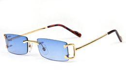 2017 gafas de sol retro del diseñador de la marca para los hombres gafas de sol sin marco cuadrado claro azul rojo marrón lentes de oro y plata gafas de sol de metal desde fabricantes