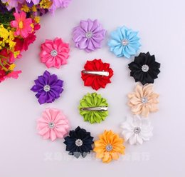Wholesale Kids Hair Clip Flower - Baby Girls 5cm Grosgrain Fabric Flowers For DIY headbands Kids Hair Clips Christmas Hair Styling Accessories Headwear