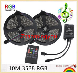 Wholesale Led Stripe Remote Rgb - YON 3528 RGB LED Strip Flexible Light 10M 600Leds SMD2835 60LEDs m music IR Remote Controller DC12V , Home Decoration LED Stripe