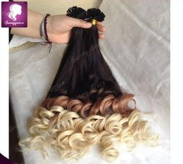 Wholesale U Tip Keratin Wavy Extensions - Super Quality 100 Strands Nail tip U tip hair extensions 1g s 100g pack keratin tip hair wavy hair ombre color in stock