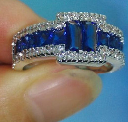 Wholesale Jewelry Blue Stone Rings - Wholesale - Luxury Size 9 10 11 Brand Jewelry 10kt white gold filled Blue Sapphire Gemstones Men Wedding Ring patty gift with box