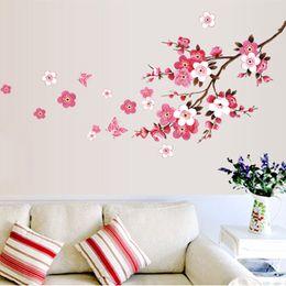 Wholesale Sakura Flower Decal - Wholesale- wholesale beautiful sakura wall stickers living bedroom decorations 739. diy flowers pvc home decals mural arts poster 3.5