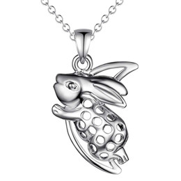 Wholesale Wholesale Zodiac Necklaces - 925 silver rabbit pendant necklace zodiac fashion jewelry cute birthday gift top quality free shipping hot