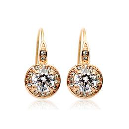 Wholesale Earring Gold Plated Italina - Wholesale Original italina Rigant Women Crystal Earring 18k GP Austrian Crystal Wedding Earring BE00021 Free Shipping
