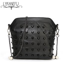 Wholesale Sheep Skin Bags - Wholesale-100% Real Soft Sheep Skin Leather Bag Women Crossbody Bags with Chain Rivet Bag Ladies Leather Black Dollar Price