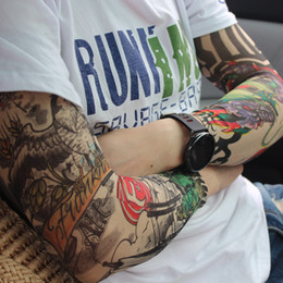 Wholesale Tattoos Sleeves Patterns - Cool Temporary Pattern Cycling Sleeves Waterproof Tattoo Sleeves Anti Sun Temporary Tattoo Sleeves Tatouage Temporaire 100 Pairs DHL