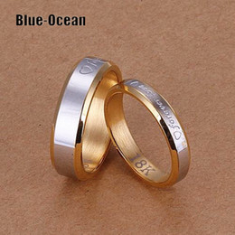 Wholesale Couple Pairs - Wholesale-Pair Wedding Rings Set for men and women aliancas de casamento em ouro his and hers love promise ring sets Couples wedding band