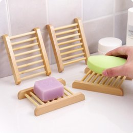 Wholesale Soaps Boxes - Fast shipping Natural Wood Soap Dish Wooden Soap Tray Holder Storage Soap Rack Plate Box Container for Bath Shower Plate Bathroom
