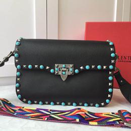 Wholesale sky saddle - new Luxury Designer Handbags High Quality Valentine Italian Genuine Leather Bag Rivet Chain Crossbody Bags For Women Shoulder Bags