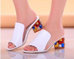 Wholesale Fishing Spools - new spring and summer 2016 colorful leather fish mouth shoes with thick with female sandals women's shoes