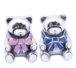 Wholesale European Beads Bear - 925 Sterling Silver Pink Blue Enemal Bear Charm European Charms Animal Beads For Pandora Fit DIY Snake Chain Bracelets Fashion DIY Jewelry