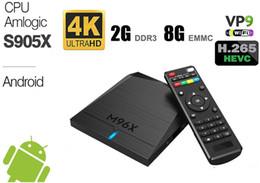 Wholesale Wireless Media Player Hdmi - M96X Android 6.0 Smart TV Box Quad Core Amlogic S905X 2GB DDR3 8GB EMMC Flash Wireless Wifi True 4k Full HD Media Player